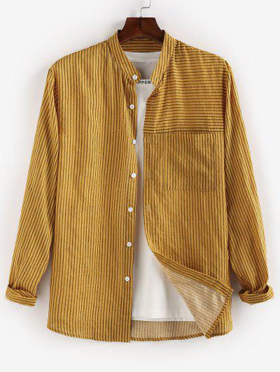 ZAFUL Striped Print Button Up Casual Pocket Shirt - Yellow M