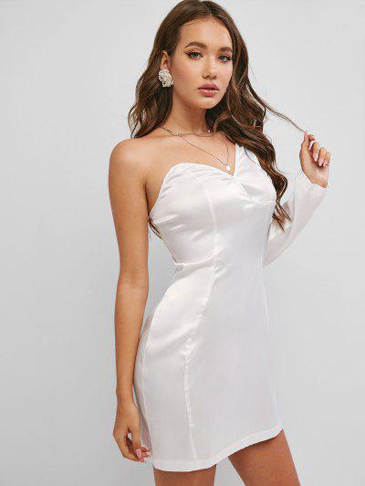 Vestido Satinado De Seda En Un Hombro - Blanco M