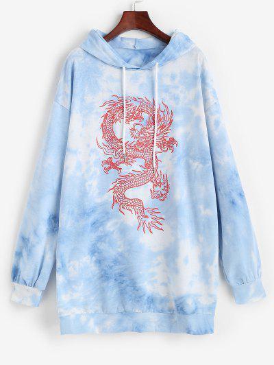 Dragon Print Oriental Tie Dye Hooded Dress - Blue S