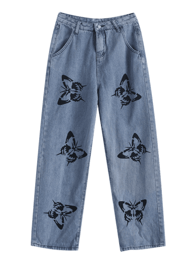 Grunge High Waisted Butterfly Print Straight Jeans