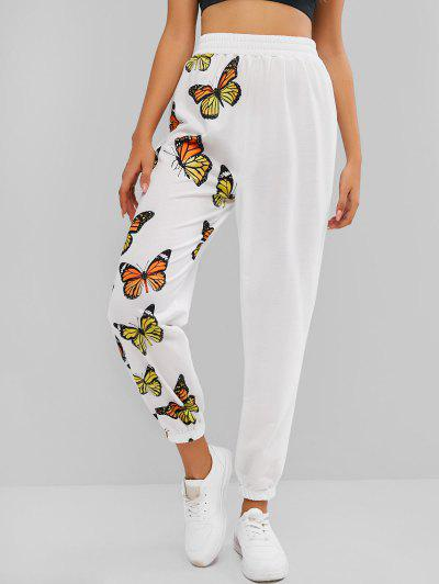 ZAFUL High Waisted Butterfly Print Elastic Cuff Pants - White S