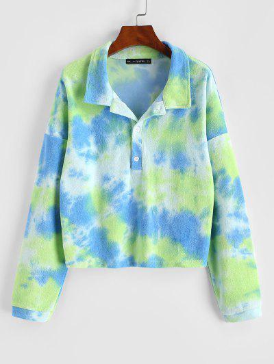 Tie Dye Terry Cloth Drop Shoulder Sweatshirt - Green S
