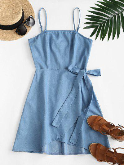 ZAFUL Overlay Tie Chambray Cami Dress - Light Blue M
