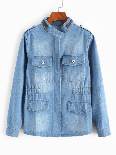 Grunge Frayed Medium Wash Denim Jacket - Light Blue S