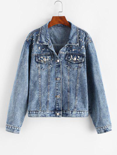 Faux Pearl Button Up Trucker Denim Jacket - Light Blue Xl