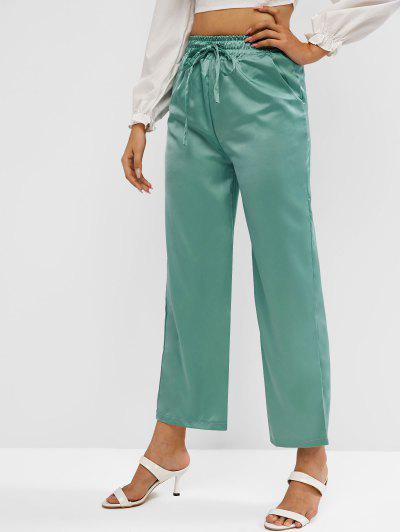 High Rise Satin Wide Leg Pants - Green