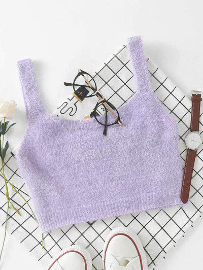 Mohair Knit Cropped Tank Top - Purple S
