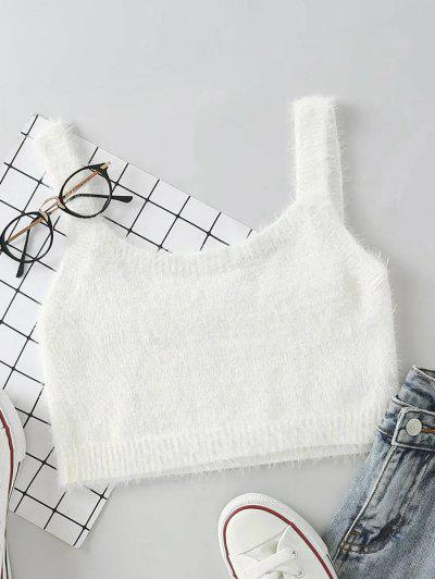 Mohair Knit Cropped Tank Top - White S