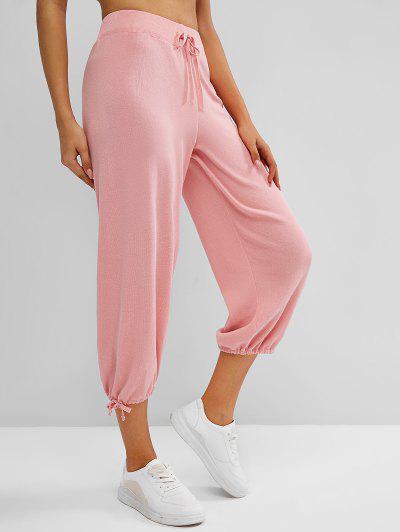 Pantalon Tricoté Taille Haute à Cordon à Ourlet Noué - Rose Clair