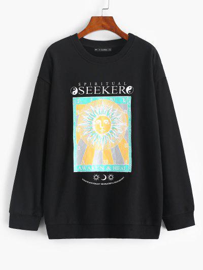 Sweat-shirt Tournesol Et Soleil Imprimés à Goutte Epaule - Noir M