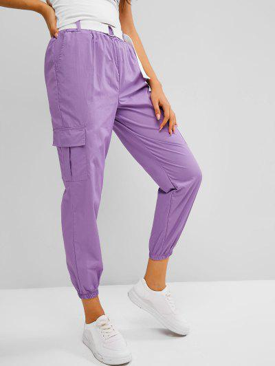 High Waisted Pockets Buckle Belted Cargo Pants - Mauve