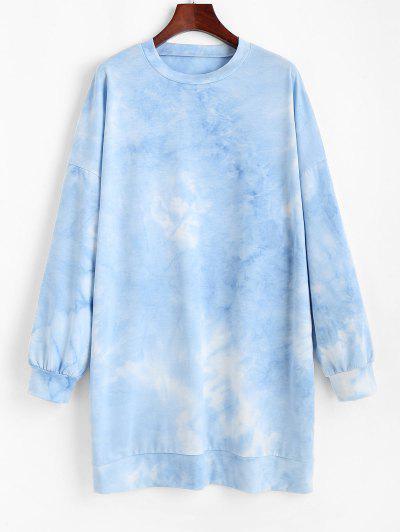 Vestido Suéter Tamanho Grande Ombro Caído Com Corda - Azul Xl