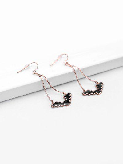 Rose Gold Plated Dangle Earrings - Black