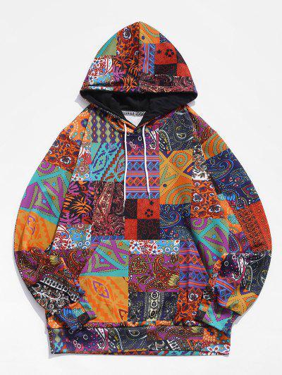 Glen Check Pattern Pocket Casual Hoodie - Multi-a 3xl