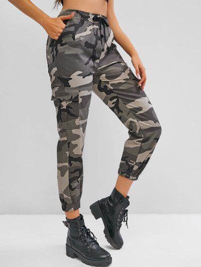 Drawstring Camouflage Flap Pockets Cargo Pants - Multi-b L