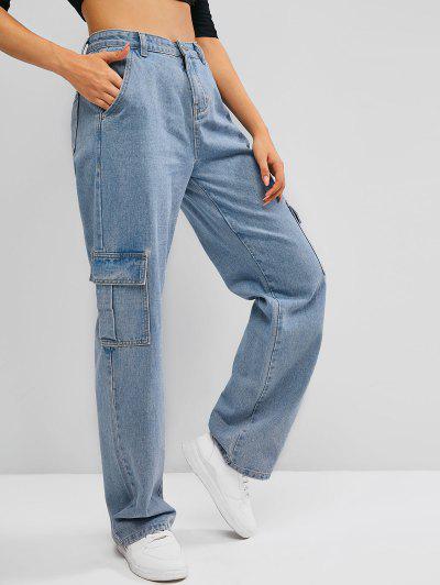 Jean Cargo Jambe Large à Taille Haute Avec Poches - Bleu L