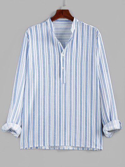 ZAFUL Полосатый принт Половинные пуговицы Повседневная Рубашка - Синий 2xl