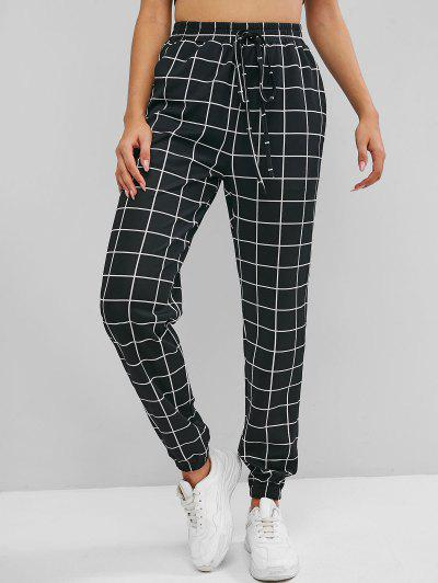 ZAFUL Checked High Rise Pants - Black S