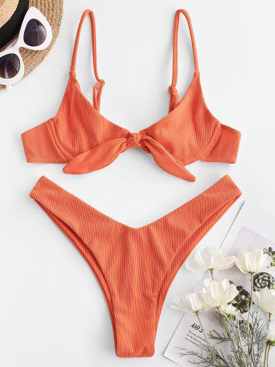 ZAFUL Ribbed Tie Front High Cut Bikini Swimwear - Orange S