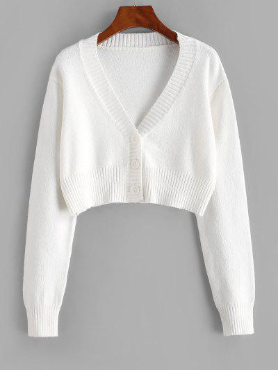 Rib-knit Trim Button Up Crop Cardigan - White