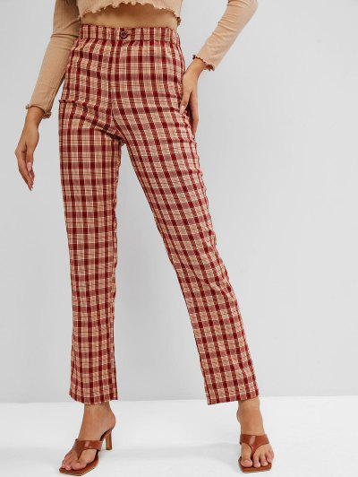 Checked Zipper Fly Straight Pants - Cherry Red