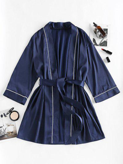 ZAFUL Drop Shoulder Satin Belted Contrast Piping Pajama Robe - Cadetblue M
