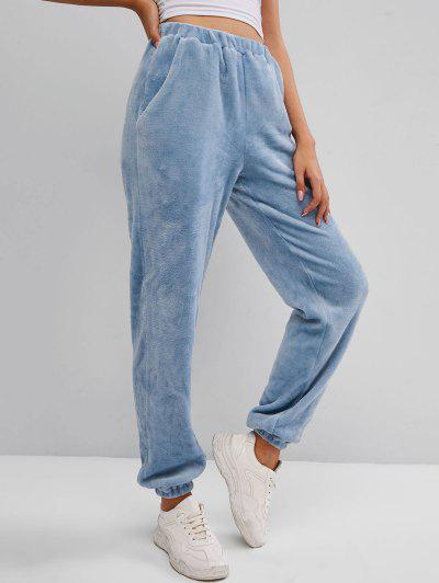ZAFUL Plush Wide Leg Pants - Blue Gray S