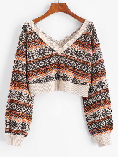 ZAFUL Drop Shoulder Plunging Crop Sweater - Coffee L