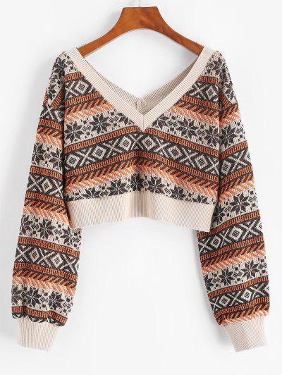 ZAFUL Drop Shoulder Plunging Crop Sweater - Coffee M