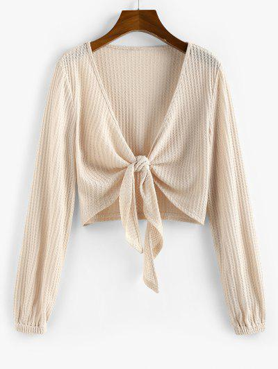 ZAFUL Knot Front Ribbed Cropped Cardigan - Apricot M