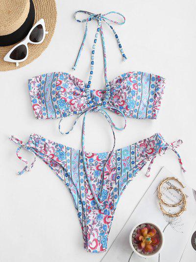 ZAFUL Bohemian Flower O Ring Convertible Bikini Swimwear - Light Blue M