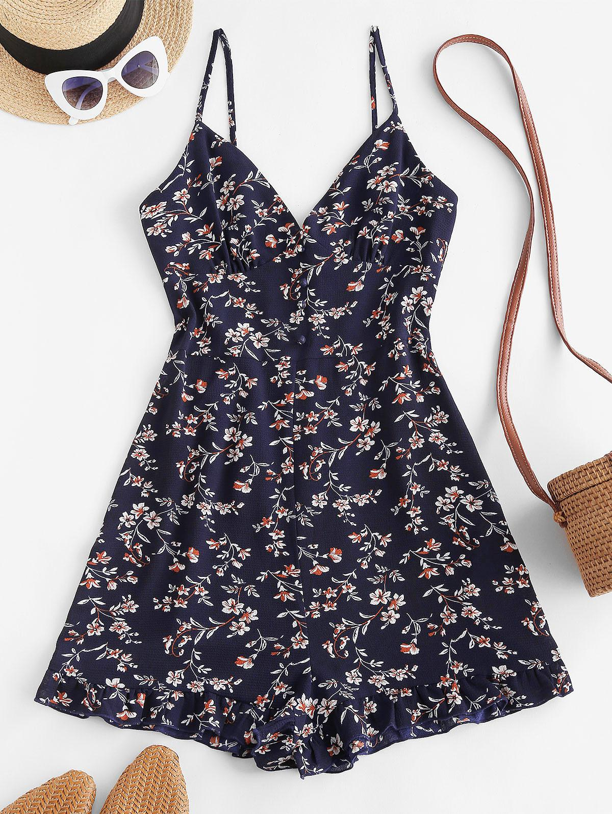 ZAFUL Floral Ruffle Smocked Wide Leg Cami Romper