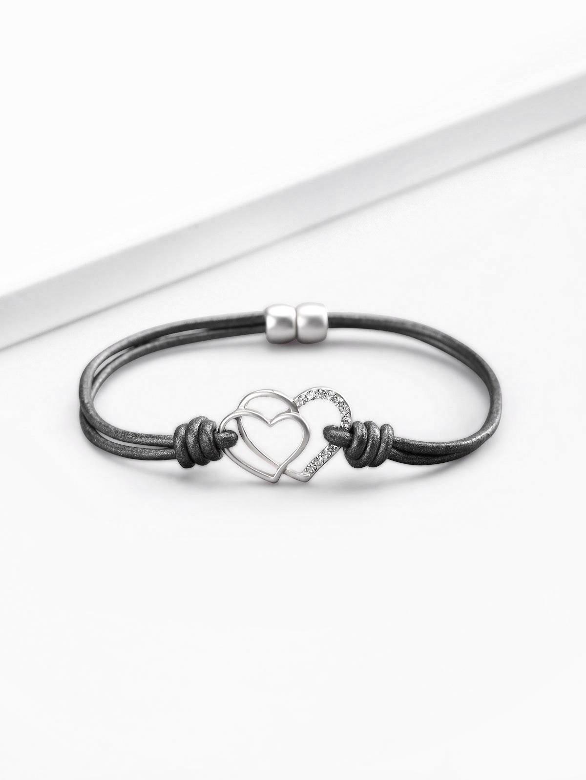 Artificial Crystal Love Heart Shape Bracelet