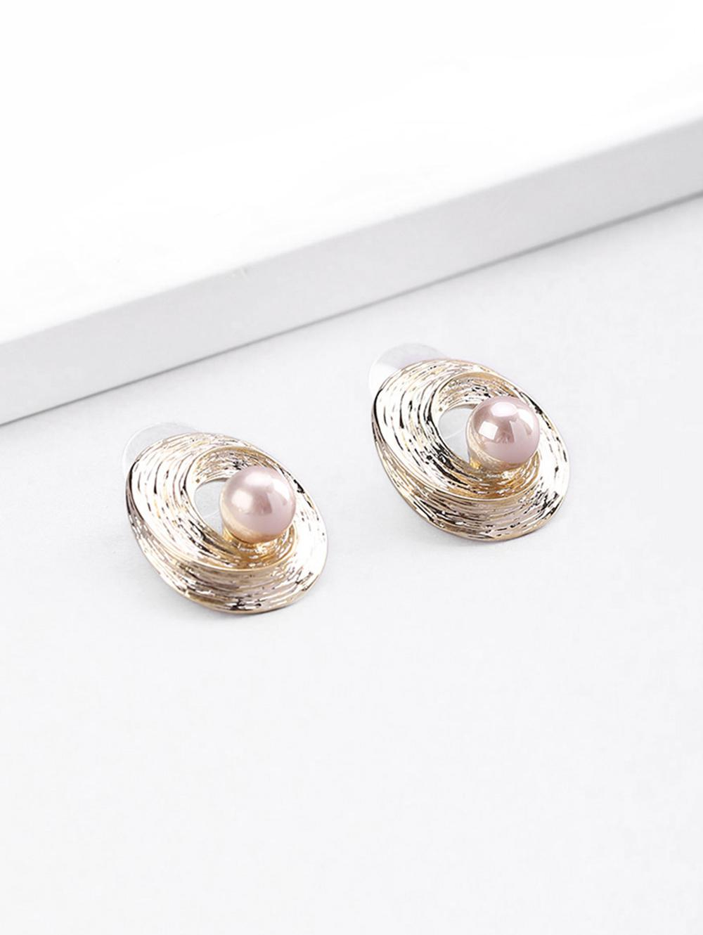 18K Gold Plated Faux Pearl Spiral Stud Earrings