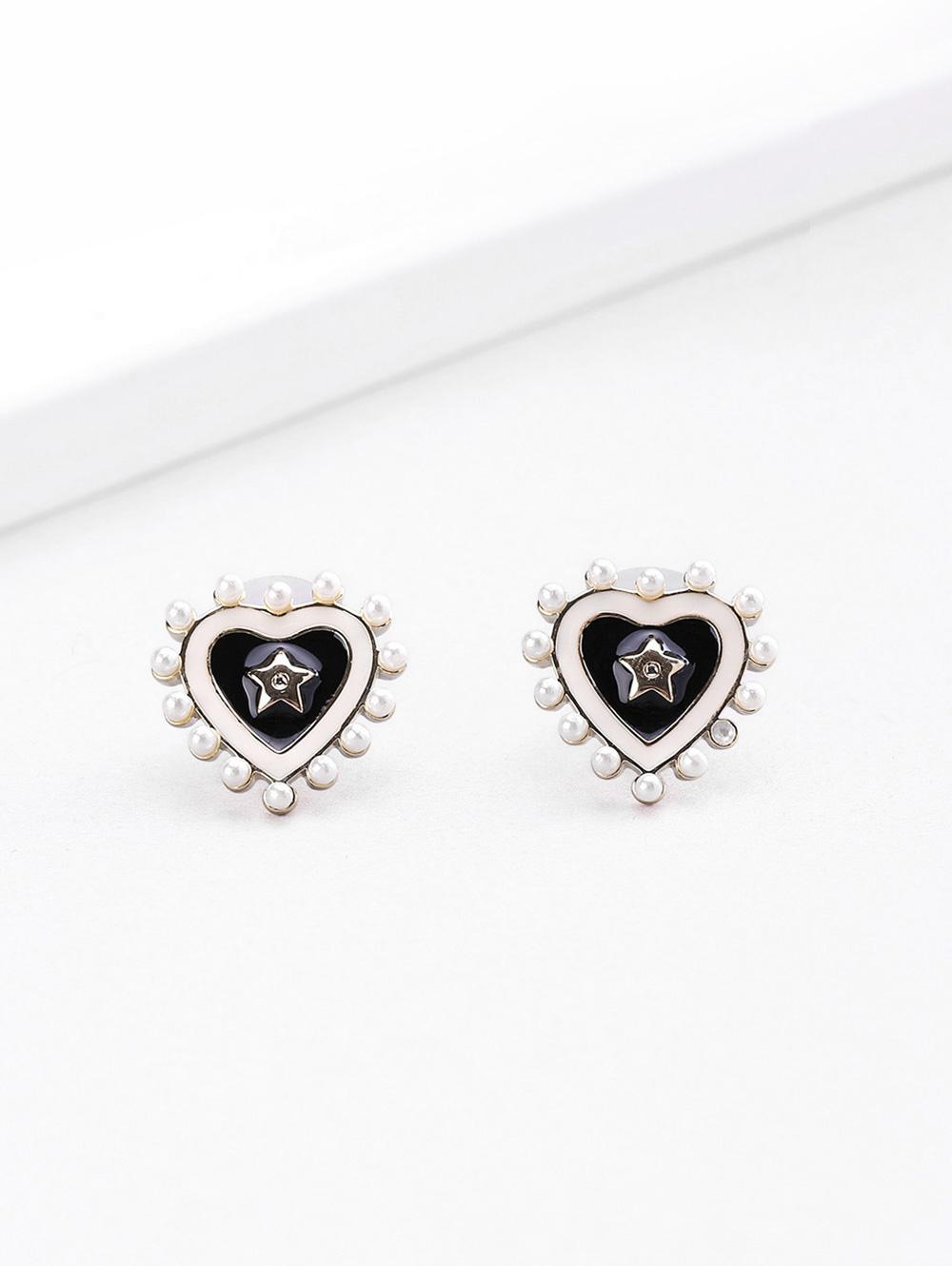 18K Gold Plated Star Heart Enamel Shape Stud Earrings