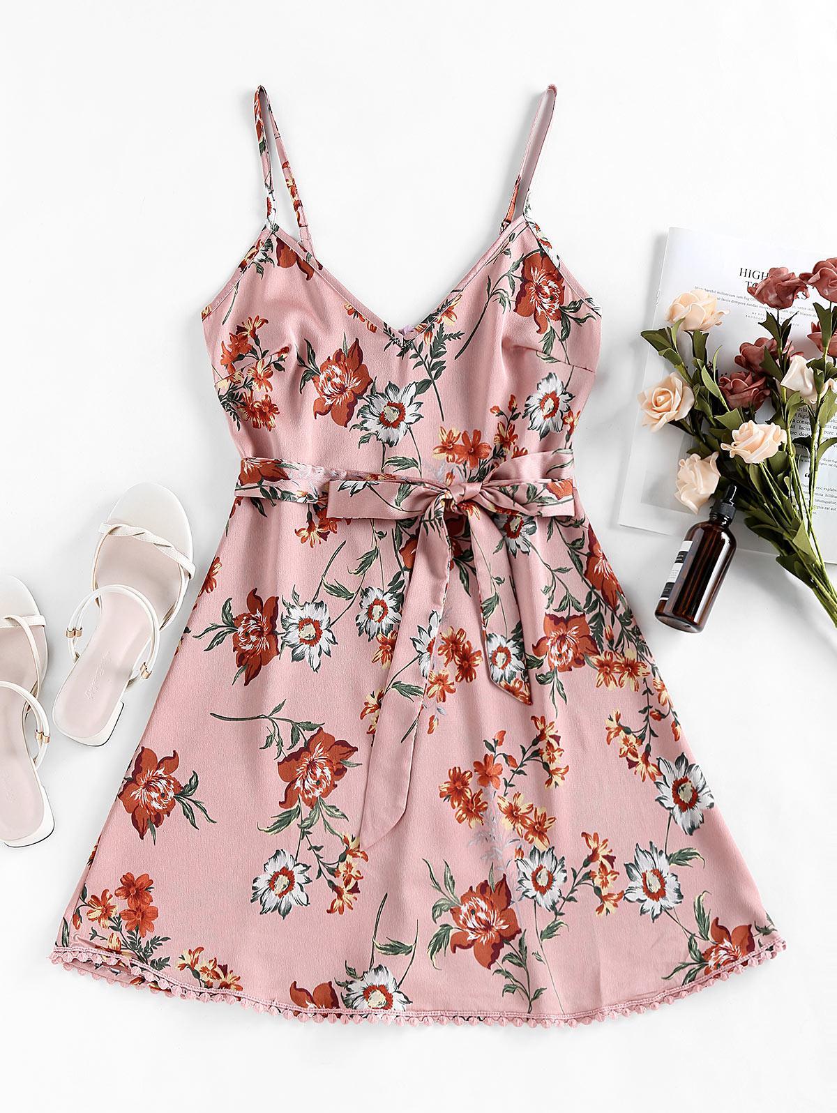 ZAFUL Pompom Floral Print A Line Dress