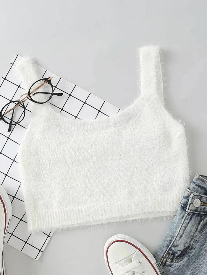 Mohair Knit Cropped Tank Top