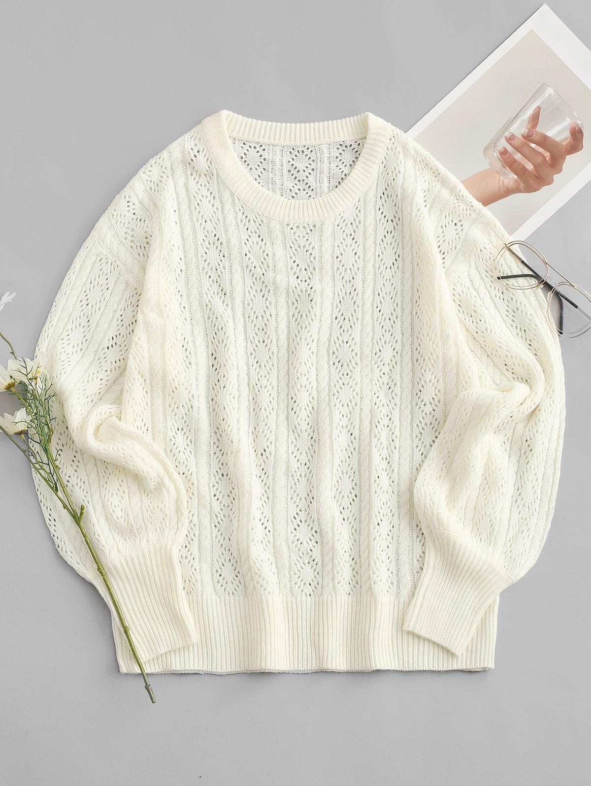 Openwork Cable Knit Balloon Sleeve Sweater
