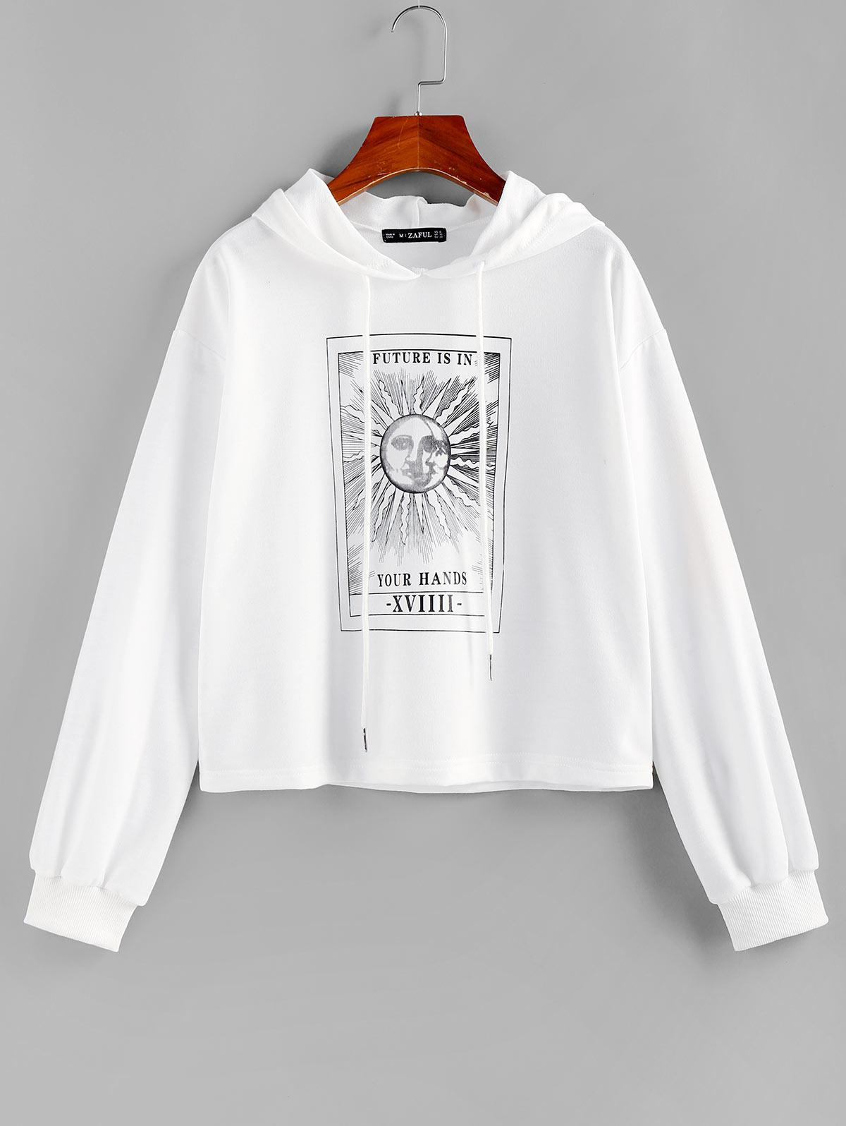 ZAFUL Sun Slogan Graphic Drop Shoulder Hoodie