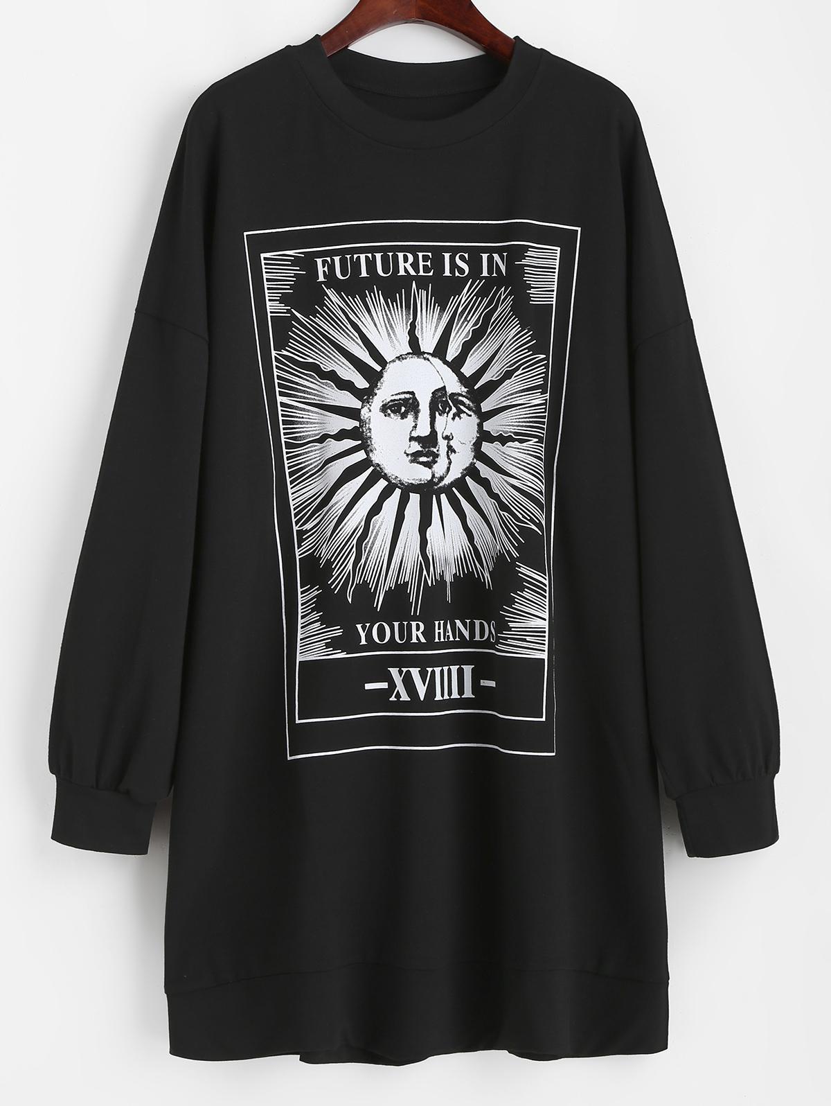 Casual Sun Graphic Tie Dye Sweatshirt Dress