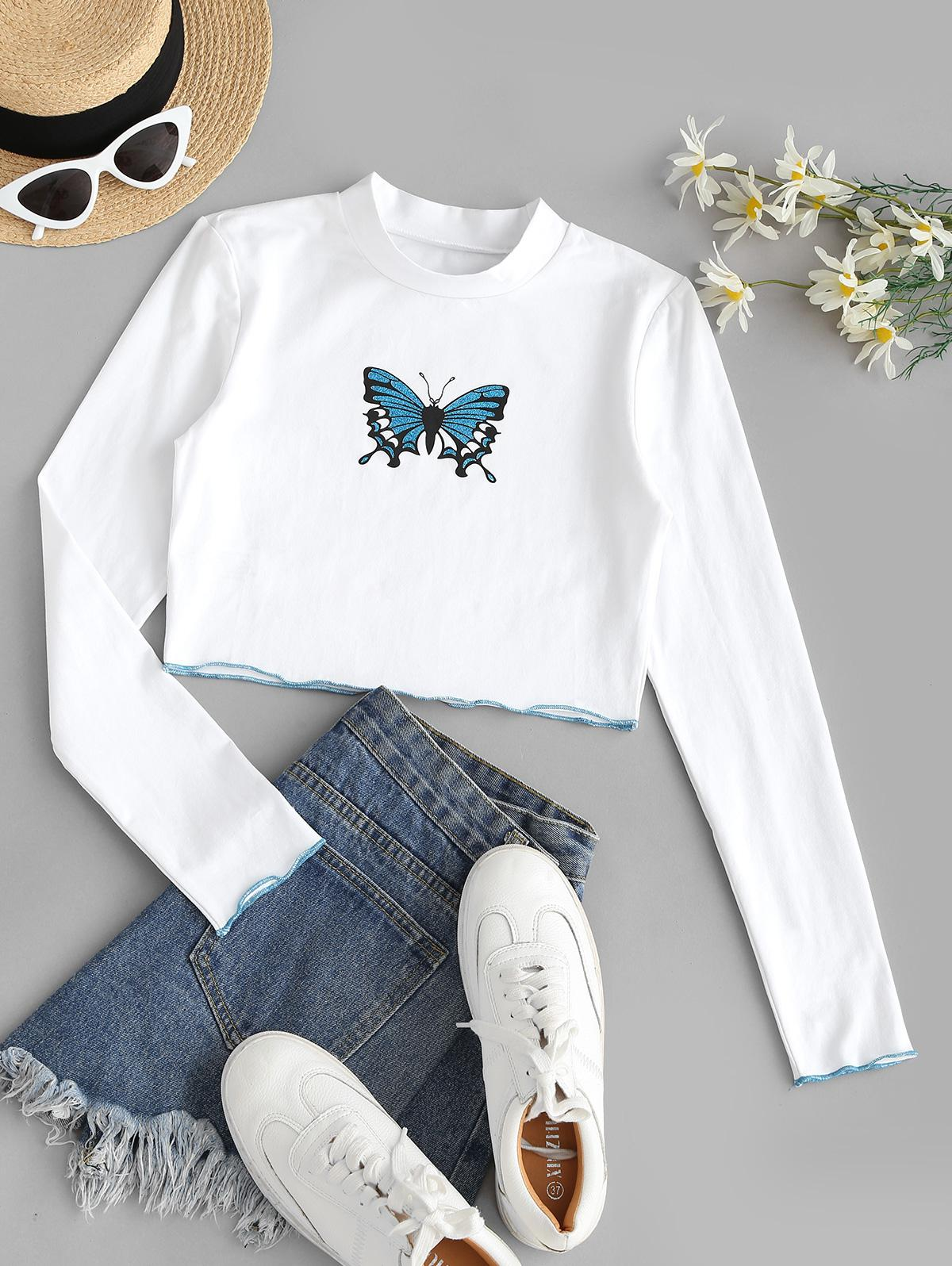 Sparkly Butterfly Print Contrast Trim Crop T-shirt