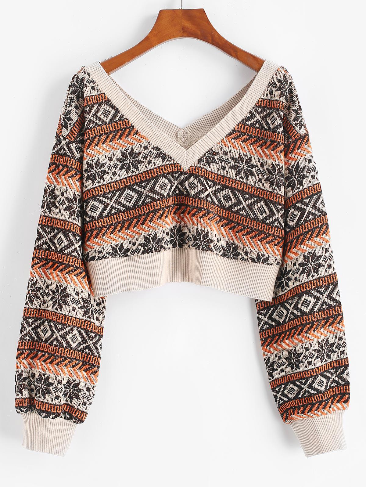ZAFUL Drop Shoulder Plunging Crop Sweater