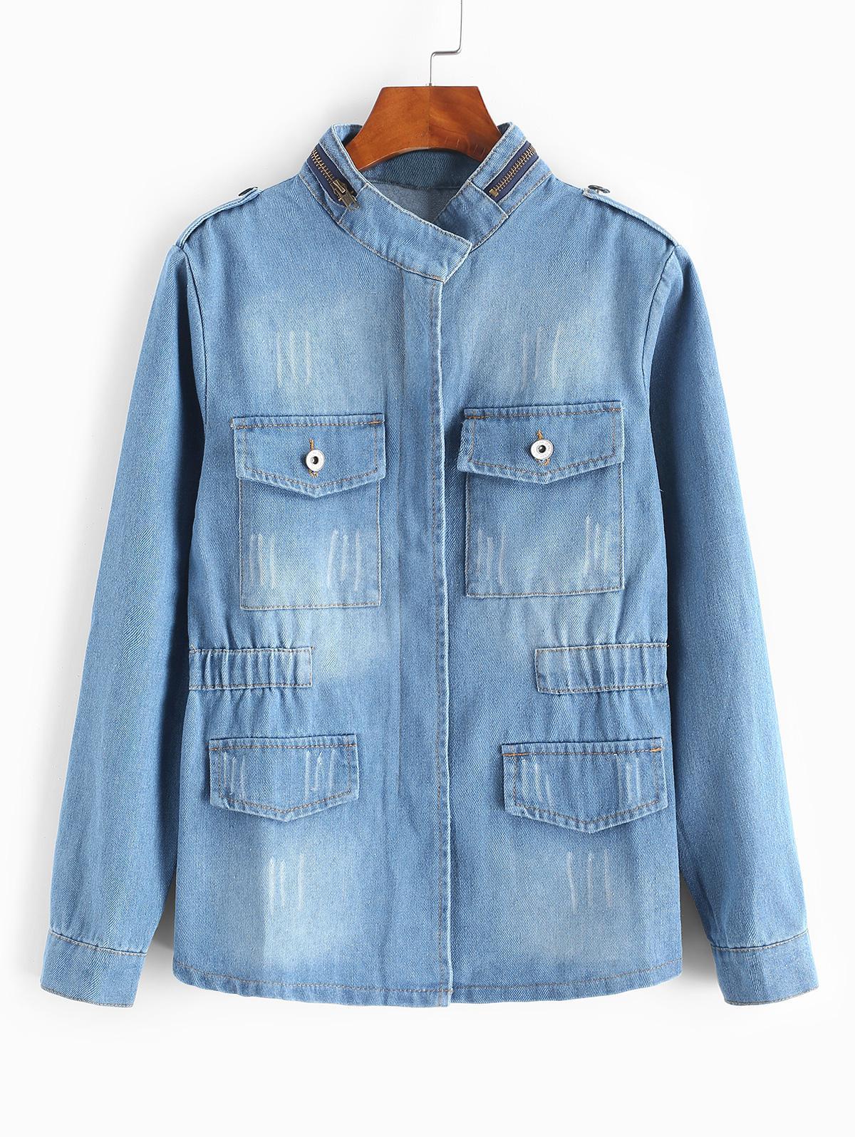 Frayed Medium Wash Denim Jacket