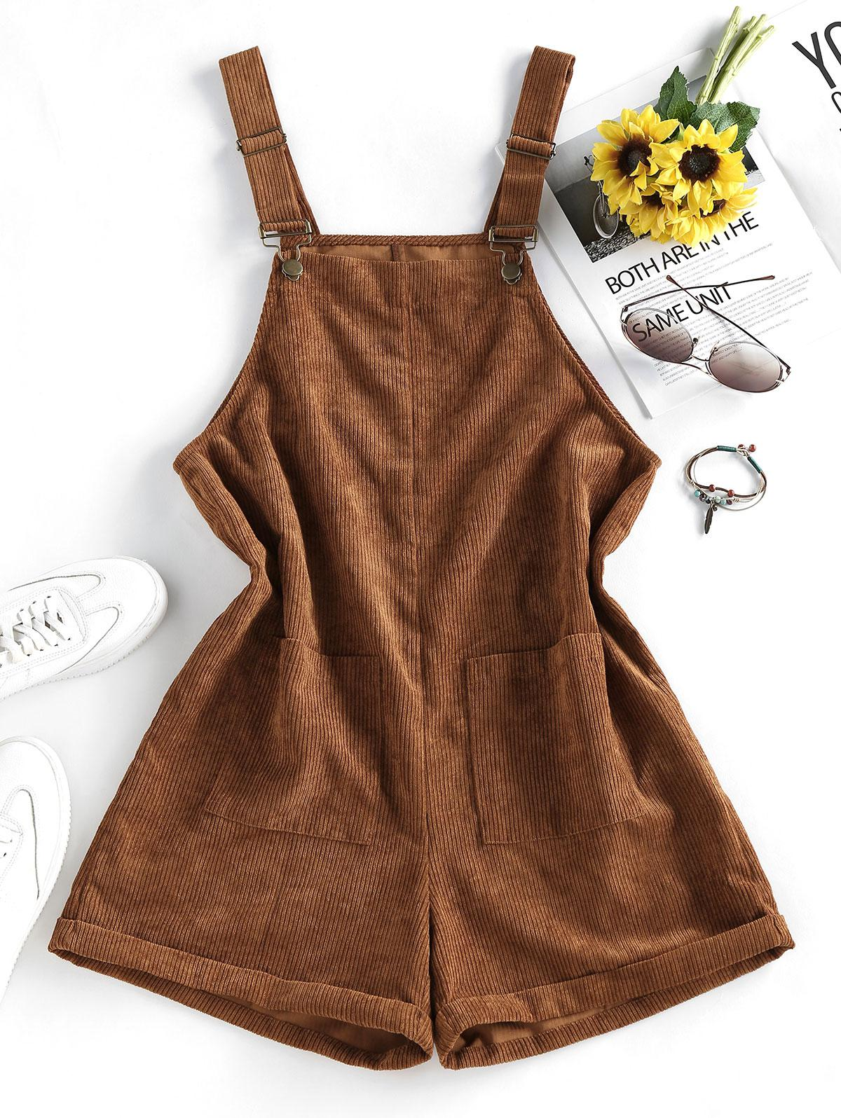 ZAFUL Pocket Rolled Corduroy Pinafore Romper
