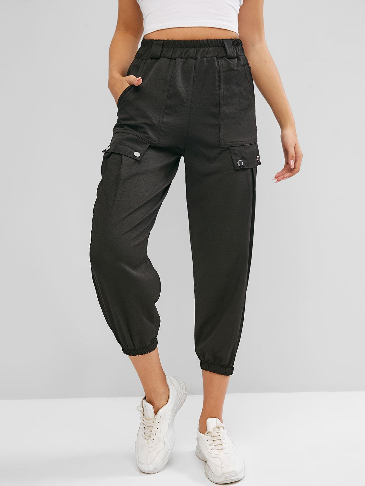 High Waisted Flap Detail Pockets Cargo Pants