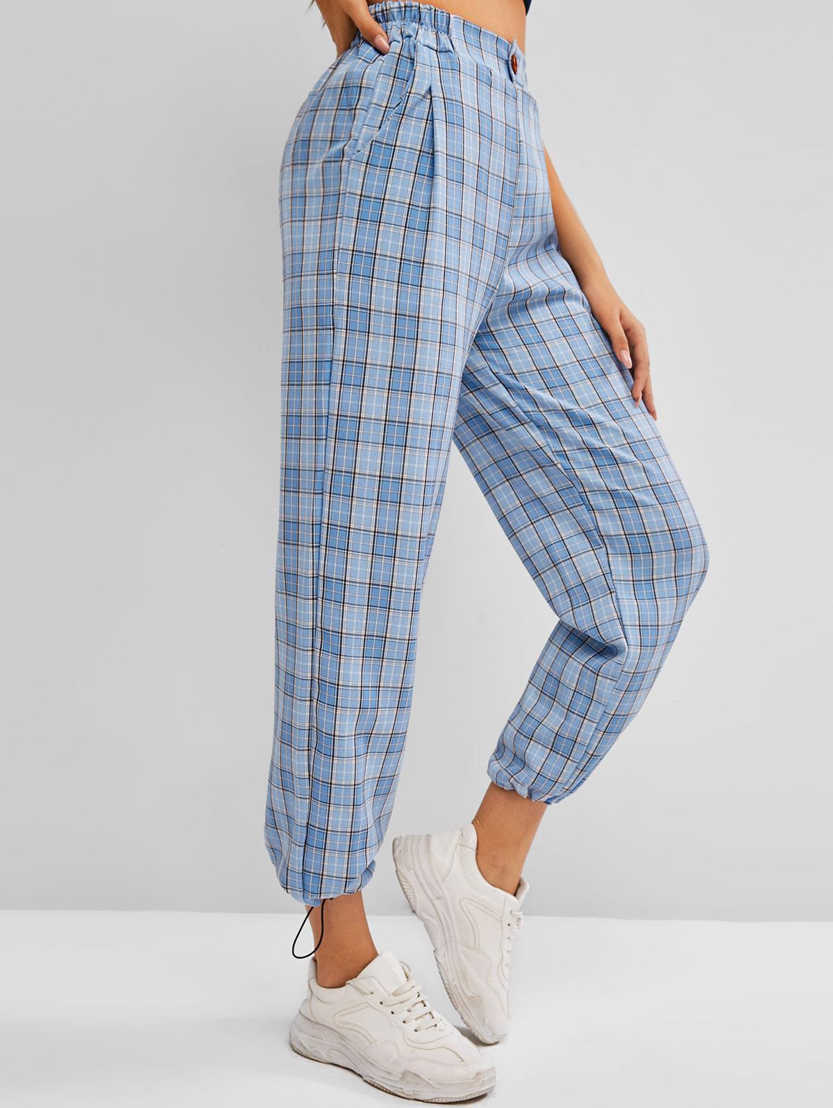 Toggle Drawstring Slant Pockets Plaid Pants