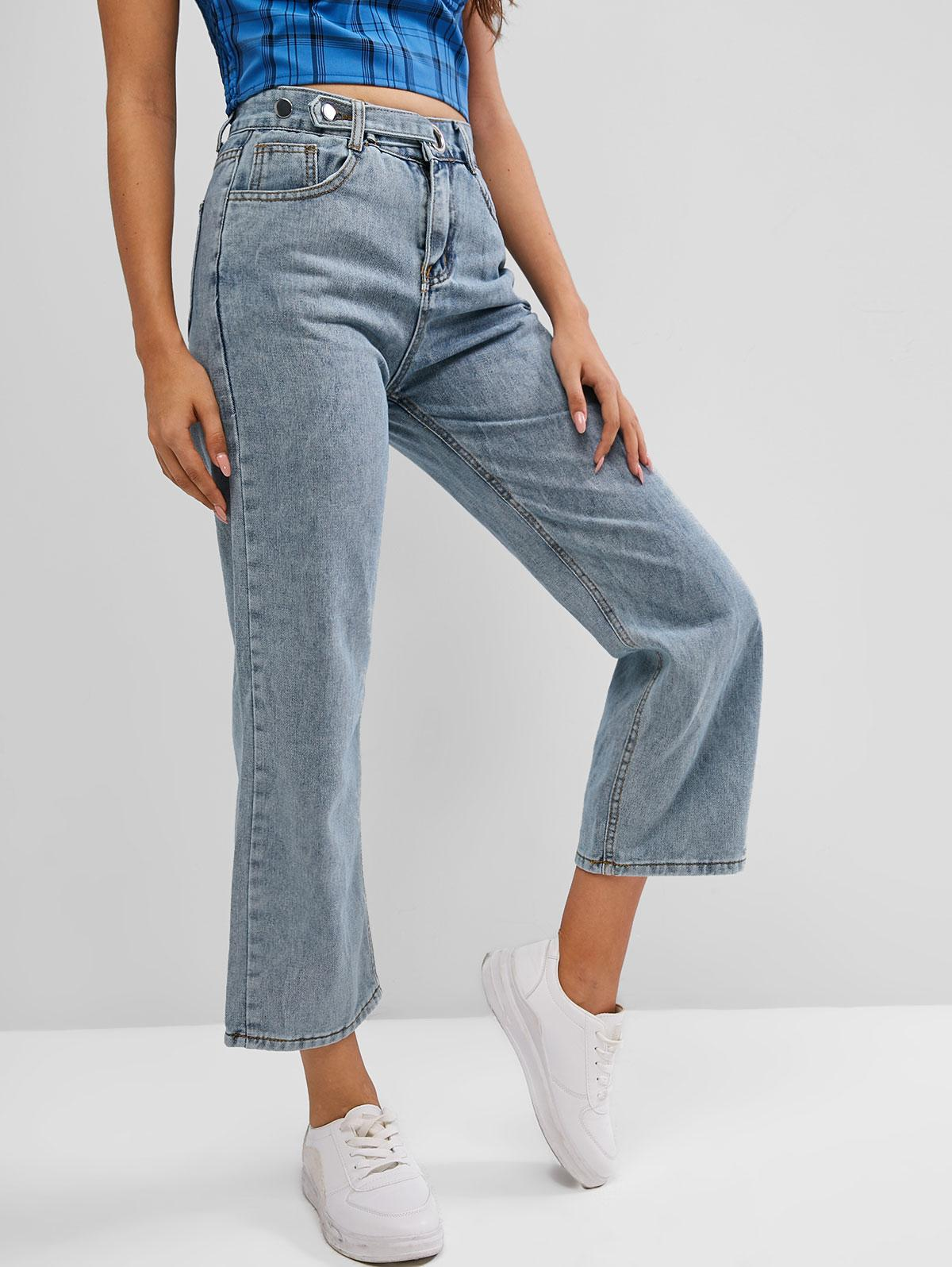 Pocket High Waisted Straight Jeans