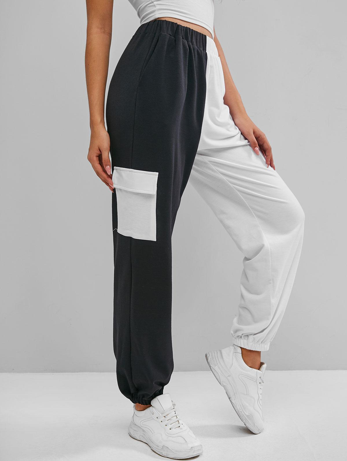 ZAFUL Pocket Bicolor High Waisted Jogger Pants