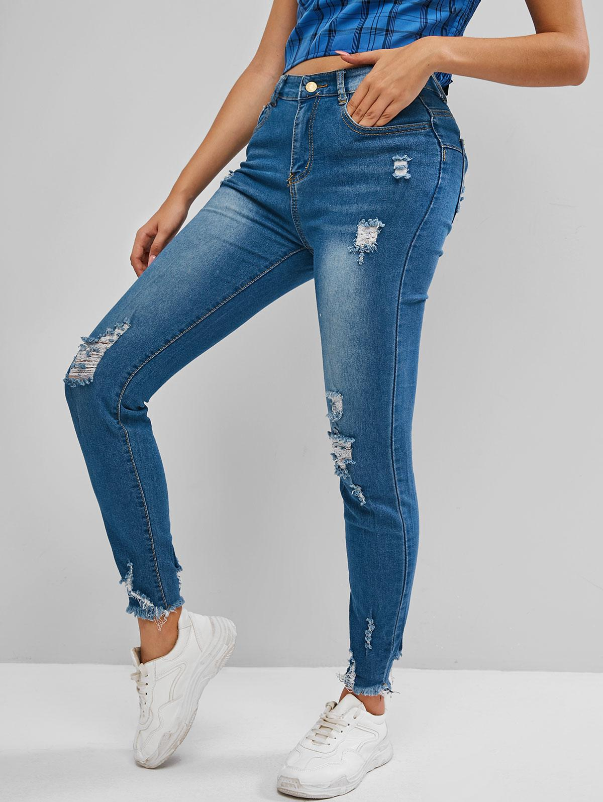 High Rise Distressed Frayed Hem Skinny Jeans