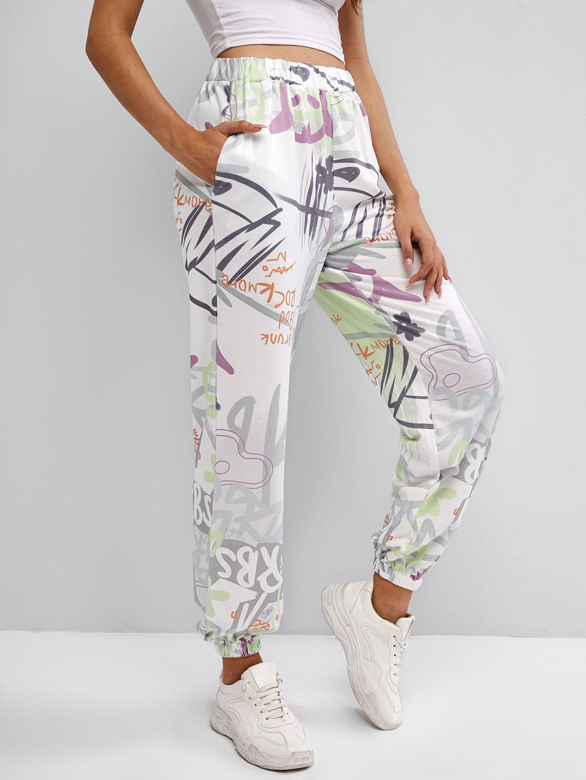 Graffiti Print High Waisted Jogger Pants